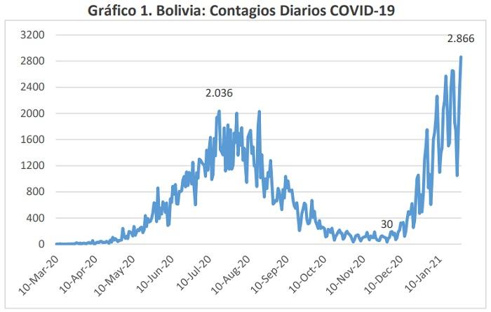 Bolivia Contagios Diarios COVID 19 marzo 2020 enero 2021